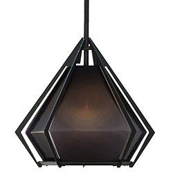 "Harlow Pendant Light (Small/Smoked Gray/Blackened Steel/12"" Stem) - OPEN BOX RETURN"