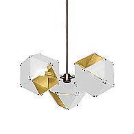 Welles 3 Spoke Pendant Light (White/Brass/24 In) - OPEN BOX