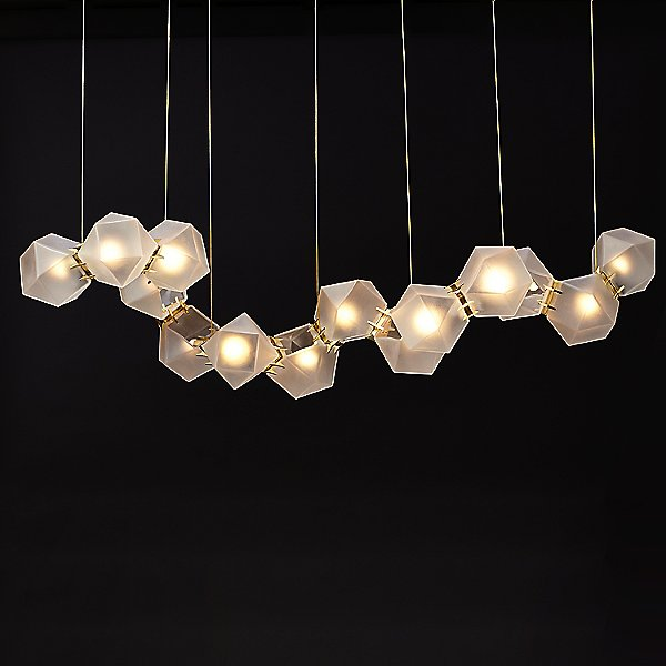 Welles Glass Long LED Chandelier