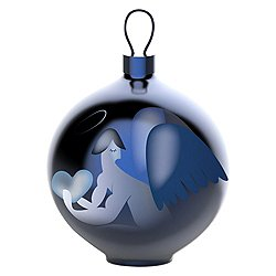 Blue Christmas Angel Ball Ornament