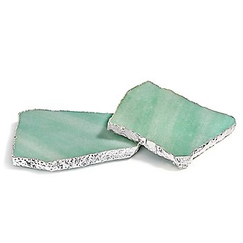 Emerald Quartz Silver Set of 2 finish