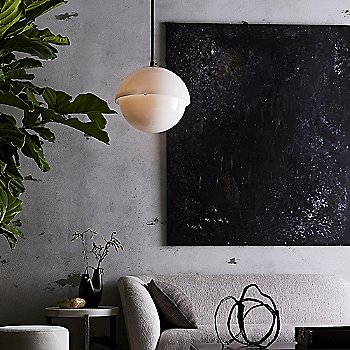 Bronze finish, in use in living room, lit