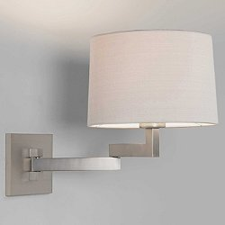 Momo Adjustable Swing Arm Wall Sconce (Nickel/Wht)- OPEN BOX