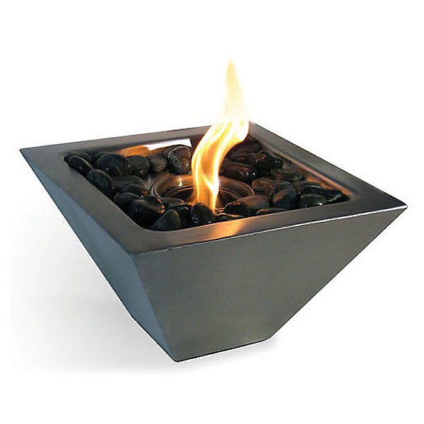 Empire Indoor/Outdoor Fireplace with Polished Black Rocks