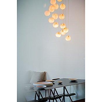 Copper finish / White glass / in use / illuminated