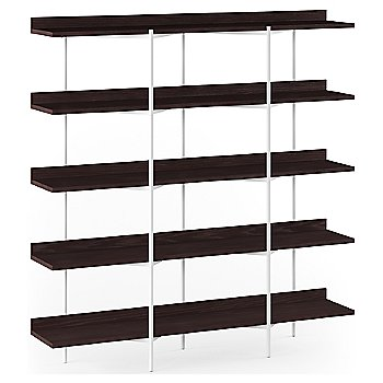 Charcoal Stained Ash Shelves / White Frame finish / 5 Tier