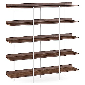 Toasted Walnut Shelves / Satin White finish / 5 Tier