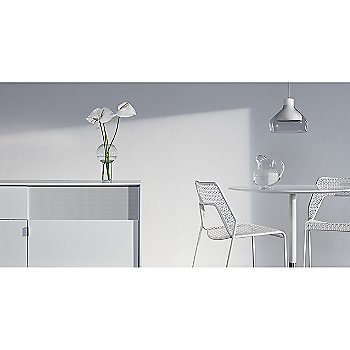 Trace 4 Pendant Light with Dang 1 Door/3 Drawer Console, Sprout Side Table and Hot Mesh Counter Stool
