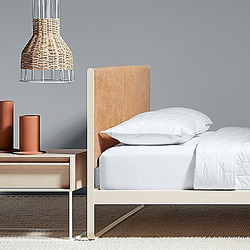 Laika Medium Plus Pendant Light with Flange Decorative Vessel, Me Time Leather Bed and Rule Nightstand