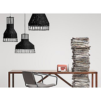 Laika Medium Plus Pendant Light with Laika Medium Pendant Light, Laika Small Pendant Light, Strut Wood Console Table and Daily Task Chair