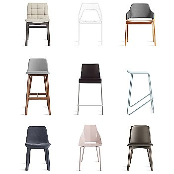Ready Barstool with Clutch Lounge Chair, Hot Mesh Chair, Chip Bar Stool, Real Good Chair, Neat Leather Dining Chair, Wicket Smoke Counterstool and Chip Leather Dining Chair