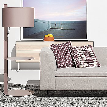 flange Decorative Bowl with Note Floor Lamp with Table, Clad 4 Drawer Dresser, Mima Pillow and Bonnie Sofa