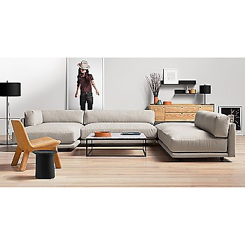 Sunday J Sectional Sofa with Coco Side Table, Minimalista Coffee Table, Peek 2 Door, 2 Drawer Console, Flange Decorative Vessel and Neat Leather Lounge Chair