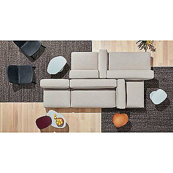 Neat Leather Dining Chair with Swole Small Side Table with Flange Decorative Bowl, Cleon Armless Sofa, Cleon Ottoman and Cleon Sofa Arm Cushion