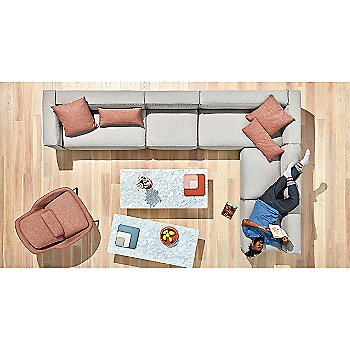Signal Pillow with 100 Percent Trays, Flange Decorative Vessel, Sunday J Sectional Sofa, Field Lounge Chair, Flange Decorative Bowl and Signal Rectangle Pillow