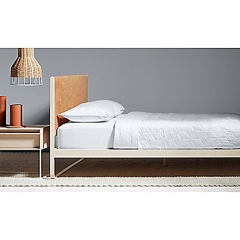 Me Time Leather Bed with Rule Nightstand, Flange Decorative Vessel and Laika Small Pendant Light