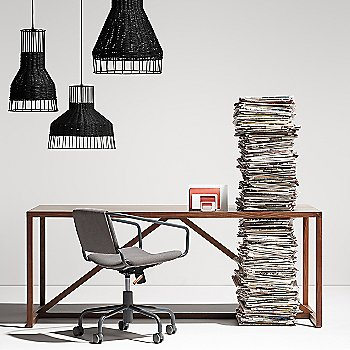 Laika Medium Pendant Light with Laika Small Pendant Light, Laika Medium Plus Pendant Light, Strut Wood Console Table and Daily Task Chair