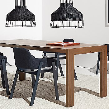 Laika Medium Pendant Light with Clutch Lounge Chair, Uni Rug, 100 Percent Trays and Second Best Wood Dining Table