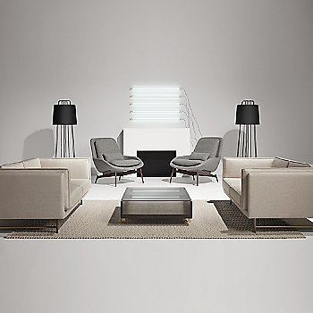 Cub Coffee Table with Perimeter Floor Lamp, Bank 80-Inch Sofa and Field Lounge Chair