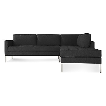 Libby Charcoal with Stainless Steel Legs, Right Configuration
