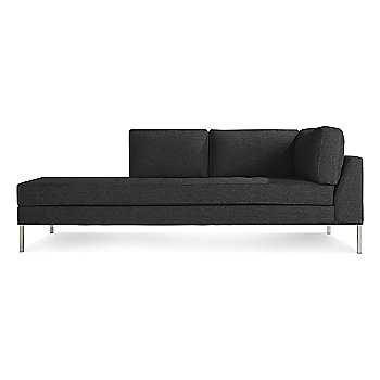 Libby Charcoal with Stainless Steel Legs, Right Arm Orientation