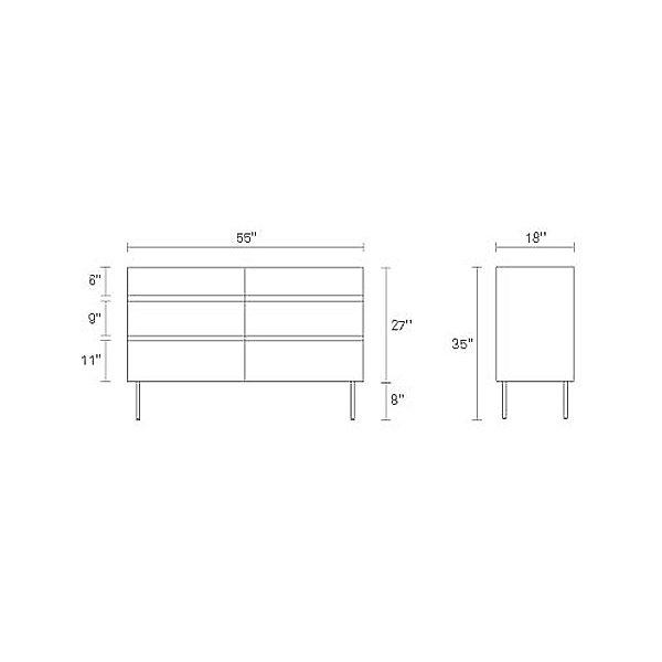 Clad 6 Drawer Dresser