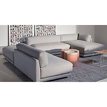Common Leather Stool with Bumper Ottoman, Sunday J Sectional Sofa and Bumper Ottoman Tray