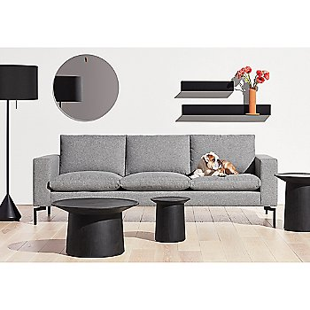 Flask Floor Lamp with Coco Side Table, Coco Coffee Table, Flange Decorative Vessel and New Standard Sofa