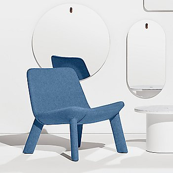 Thurmond Marine Blue Lounge Chair, in use