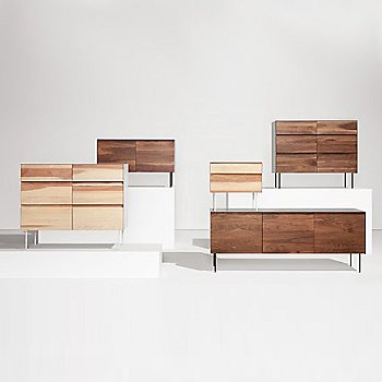 Pictured with the Clad 6 Drawer Dresser, the Clad Nightstand and the Clad 3 Door Credenza