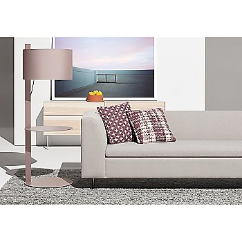 Clad 4 Drawer Dresser with Bonnie Sofa, Mima Pillow and Note Floor Lamp with Table