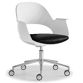 Mist / Polished Aluminum with Essential Leather / Urban Charcol upholstered seat