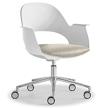 Mist / Polished Aluminum with Essential Leather / Urban Limestone upholstered seat