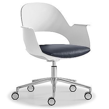Mist / Polished Aluminum with Essential Leather / Urban Slate upholstered seat