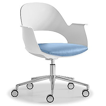 Mist / Polished Aluminum with Essential Leather / Focus Sky upholstered seat