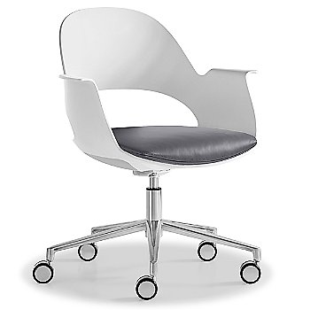 Mist / Polished Aluminum with Essential Leather / Focus Shadow upholstered seat