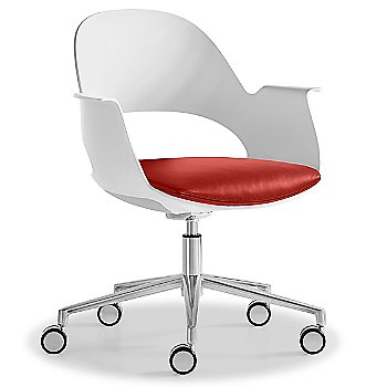 Mist / Polished Aluminum with Essential Leather / Focus Poppy upholstered seat