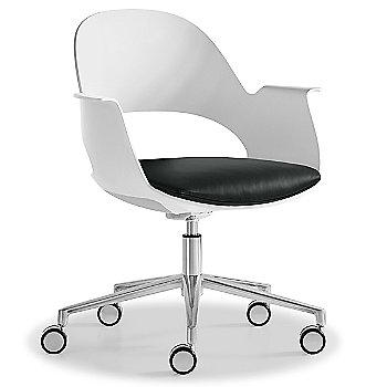 Mist / Polished Aluminum with Essential Leather / Charcol upholstered seat