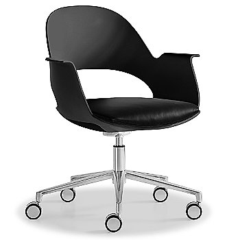 Black / Polished Aluminum with Essential Leather / Urban Charcol upholstered seat