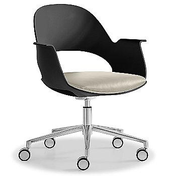 Black / Polished Aluminum with Essential Leather / Urban Limestone upholstered seat