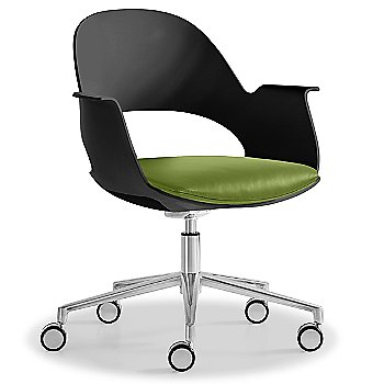 Black / Polished Aluminum with Essential Leather / Urban Sprout upholstered seat