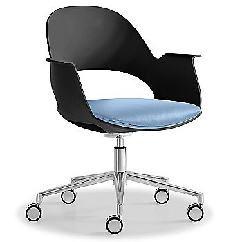 Black / Polished Aluminum with Essential Leather / Focus Sky upholstered seat