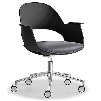 Black / Polished Aluminum with Essential Leather / Focus Shadow upholstered seat