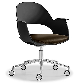 Black / Polished Aluminum with Essential Leather / Focus Espresso upholstered seat