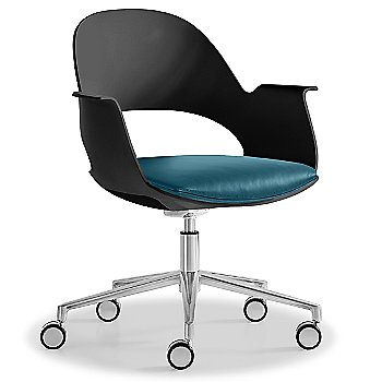 Black / Polished Aluminum with Essential Leather / Focus Lagoon upholstered seat