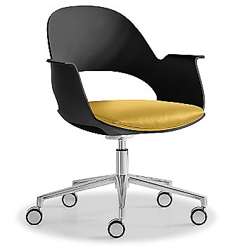 Black / Polished Aluminum with Essential Leather / Focus Citrus upholstered seat
