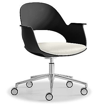 Black / Polished Aluminum with Essential Leather /  Quartz upholstered seat