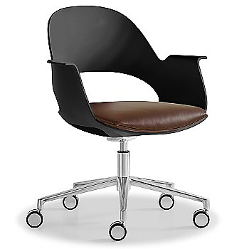 Black / Polished Aluminum with Essential Leather / Brownstone upholstered seat