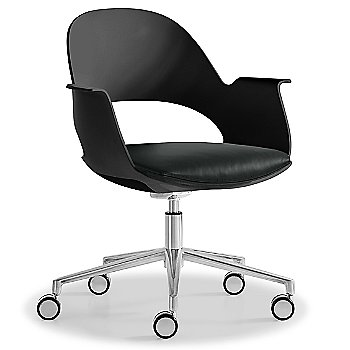 Black / Polished Aluminum with Essential Leather / Athracite upholstered seat