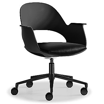 Black / Powder-coated Black with Essential Leather / Urban Charcol upholstered seat